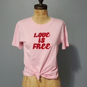 Forever 21 love is free front tie cotton shirt